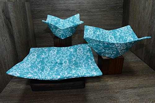 Microwave Bowl Cozies // Set of 3 // 1 Small Bowl Cozy // 1 Medium Bowl Cozy // 1 Dinner Plate Cozy // Aqua Elegance