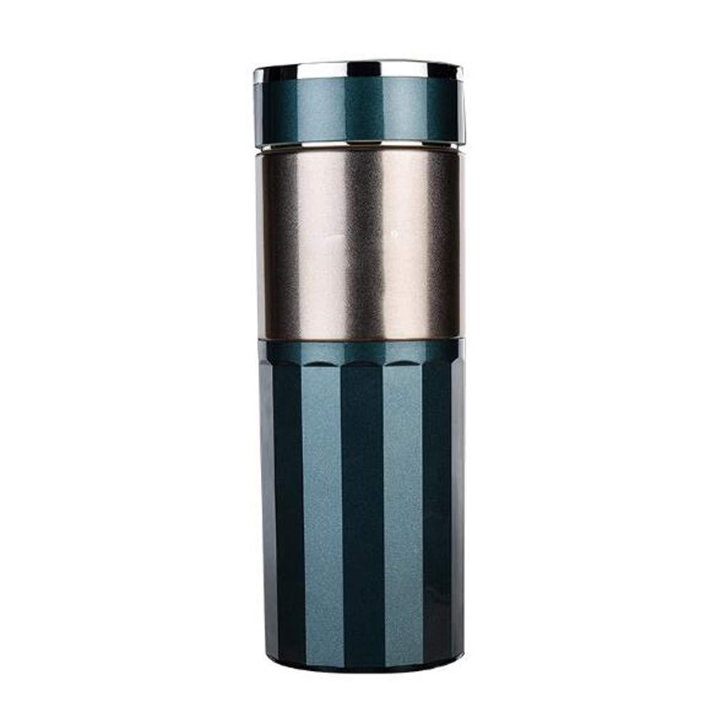 ZY Keramischer Liner Teacup der Edelstahlvakuumflasche für Männer und Frauen Geschäftsbüro-Filterschalen-Geschenkschale,BlauGrün