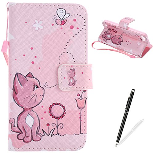 MAGQI iPod Touch 5-6 Case, Premium Flip Stand PU Leather Wallet Magnetic Closure Protective Card Slots Holder Style Cover with Hand Strap for Apple itouch 5/6-Pink Cat