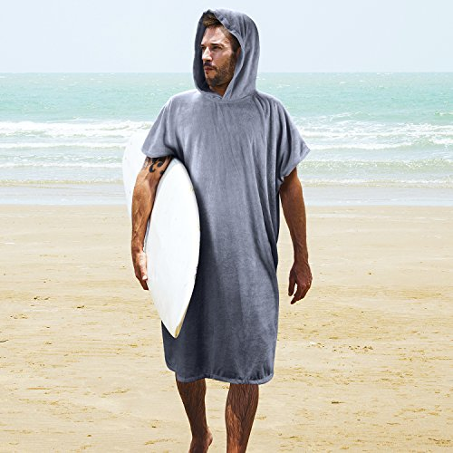 Tirrinia Changing Towel Surf Beach Wetsuit W/Hood, Super Absorbent Microfiber Bath Robe Poncho for Men Women Bath/Shower/Pool/Swim, Grey -