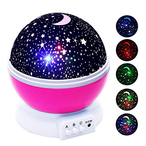 Stillcool Baby Night Light Star Projector 360 Degree Rotation   4 Led Bulbs Lamp 5 Light Color Changing With Usb Cable  Pink   Unique Gifts For Men Women Kids Best Baby Gift  Christmas Gift