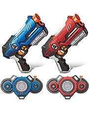 Laser Tag Guns Set of 2, 2 Guns & 2 Vests with Fog Effect, Indoor Outdoor Game Toys for Kids & Teenager