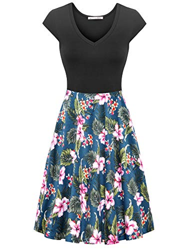 (Messic Women's Summer Sleeveless Dresses Casual Slim Fit and Flare Dress (D07 Blue Floral, XX-Large))
