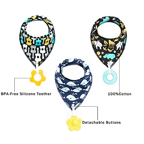 Baby Bandana Drool Bibs Teether Toys-Made with 100% Organic Cotton,Personalized Baby Bibs(2018 New Design),Supper Absorbent and Soft(Unisex), 2000+ Instagram Likes(3packs)