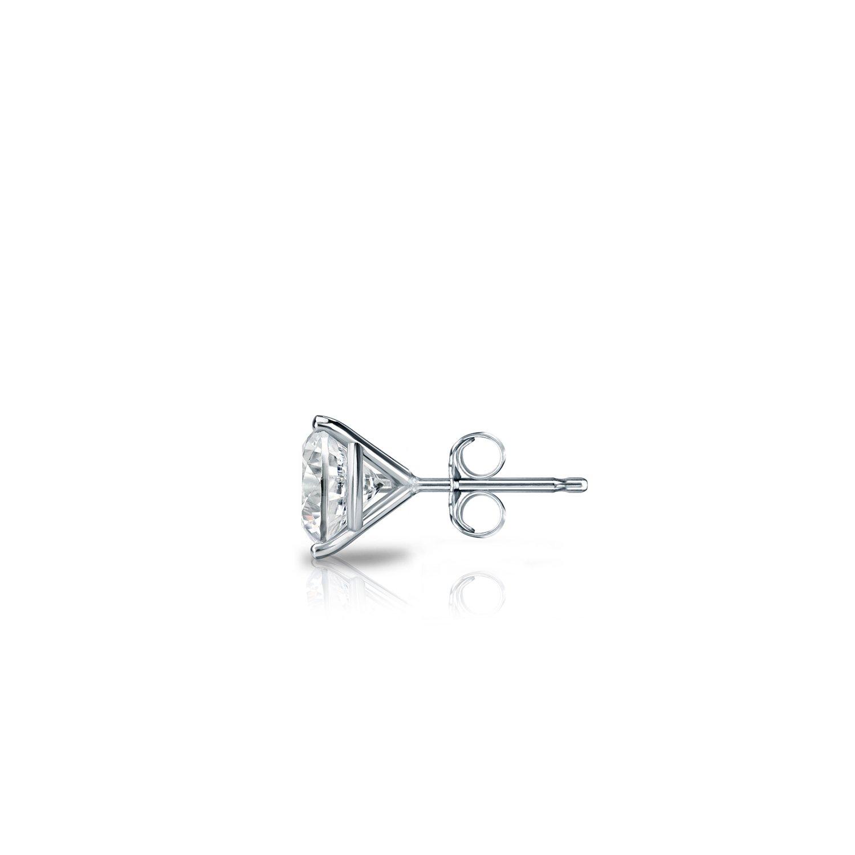 18k White Gold 3-Prong Martini Round Diamond SINGLE STUD Earring Push-Back 1//8-1 ct, H-I, I2-I3