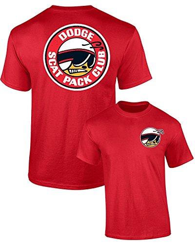 DODGE SCAT PACK CLUB MOPAR T-SHIRT FRONT & BACK, Red, 3XL ()