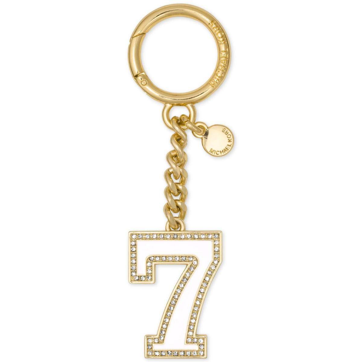 Michael Kors Womens Lucky Seven Rhinestone Fashion Keychain Gold O/S