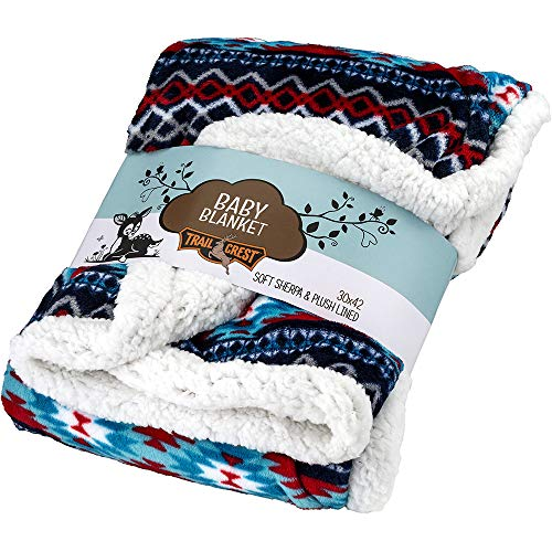 Ultra Soft Sherpa Fleece Cozy Plush Baby Blanket for Kids, Reversible with Aztec Prints 6 Colors