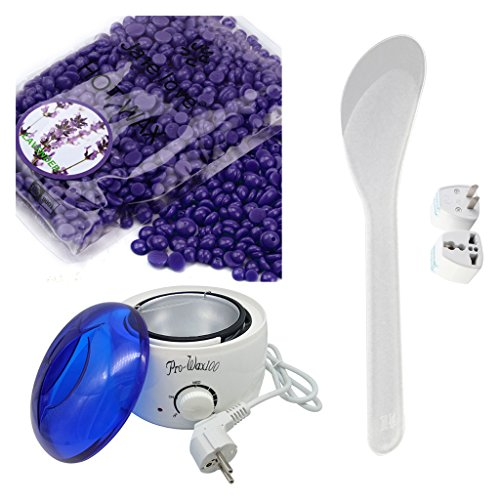 Perman Hair Removal Set Depilatory Hard Pearl Wax Beans + Warmer Heater Machine - Lavender (3.5oz / 100g)