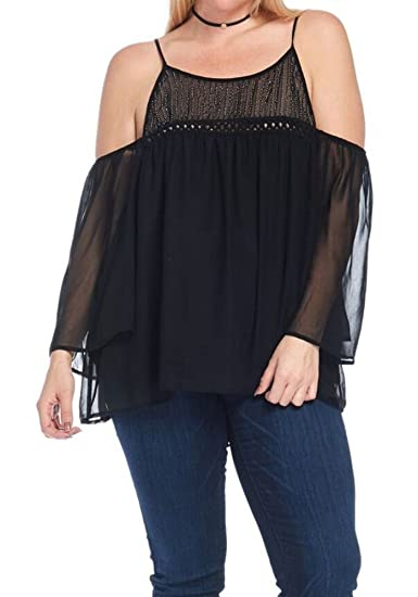ef4bf0b75fe7f1 curvyluv.com Women's Plus Size Off Shoulder Top 3/4 Sheer Bell Sleeves  Beaded Detailing at Amazon Women's Clothing store: