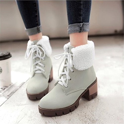 with high number short barrel and shoes thick of waterproof boots ZQ a large heeled student female strap Winter Head QXAutumn Taiwan Round ground and Grey boots ZR8zwxpq