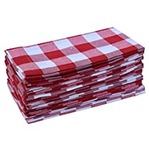 Pack Of 12 Red -white 100% Cotton Yarn Dyed Gingham Check Dinner Napkins 18x18Inch,Clambake Beach party Nautical Dinner Napkins as well offered by Linen Clubs