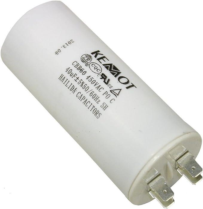 Condensateur Permanent de Travail pour Moteur 4/µF 450V pr/éc/âbl/é /Ø30x60mm /±5/% 3000h C18664 Aerzetix