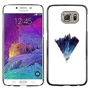 KLONGSHOP // Cubierta de piel con cierre a presión Shell trasero duro de goma Protección Caso - Diamante Triángulo Lobo - Samsung Galaxy S6 //