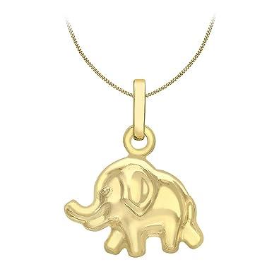 Lucchetta - Yellow Gold Necklace Elephant pendant - 9ct Gold necklace for Women with Elephant pendant IgeZK