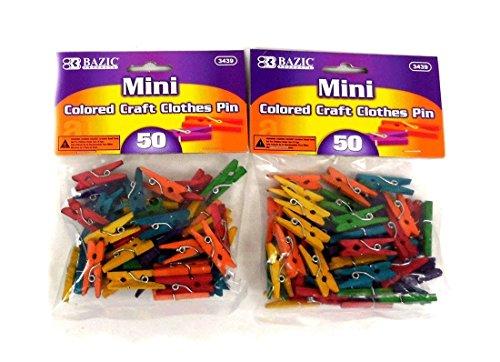 BAZIC Mini Colored Clothespin total