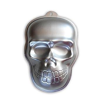 OUNONA Pastel de cabeza de cráneo de aluminio de Halloween Molde de caramelo de chocolate Fondant