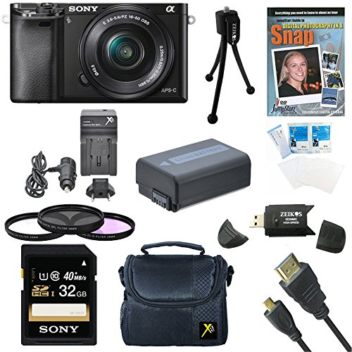 Sony Alpha a6000 24.3MP Interchangeable Lens Camera – Body only w/ Tascam DSLR Audio Recorder and Shotgun Microphone + 128GB & 64GB Pro Video Bundle (16-50mm Lens Kit)