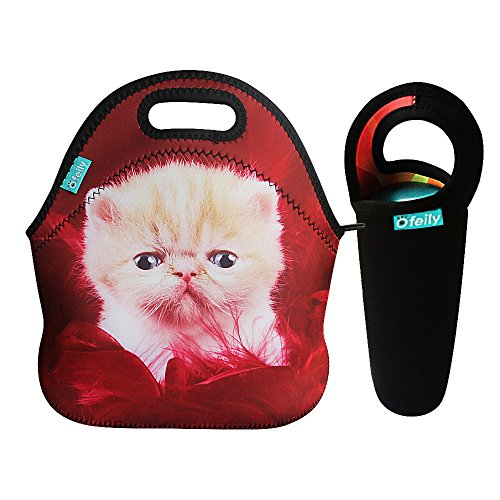 Bundle of Lunch Tote and Water Bottle Sleeve, OFEILY Insulated Neoprene Lunch Tote/Lunch box/Lunch bag with Black Wine tote/Beer/Water Drinks Bottles/Cans Carrying Bag (Cat in Red)
