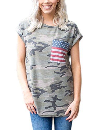 HOTAPEI Women Casual Camo American Flag Short Sleeve Shirts Blouse Tops Small