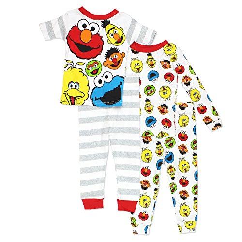Sesame Street Gang Elmo Boys Girls 4 Piece Cotton Pajamas Set (2T, (Pajamas Toys)