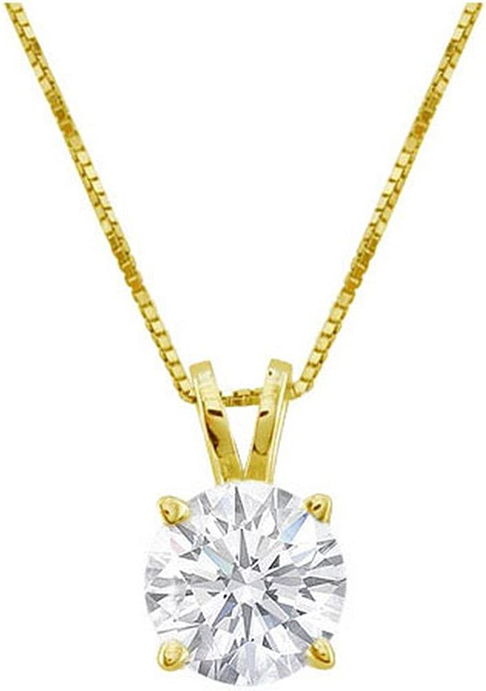 """1/2 Carat 4 Prong Solitaire Basket Diamond Pendant Necklace 18K Yellow Gold (K, I1, 0.5 ctw) w/ 16\"""" 14K Yellow Gold Chain 51rzqMRmAaLUL1000_"""