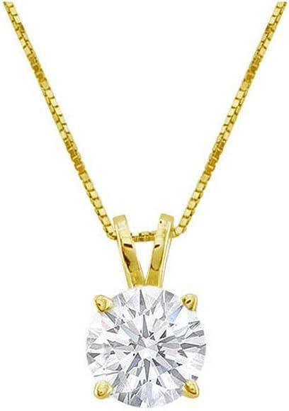 Amazon Com Near 1 Carat 4 Prong Solitaire Basket Diamond Pendant Necklace 14k Yellow Gold J Si2 I1 0 85 Ctw Jewelry