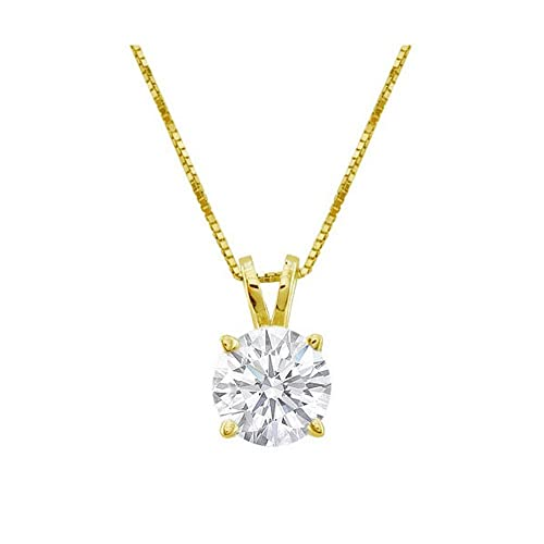 Near 1 Carat 4 Prong Solitaire Basket Diamond Pendant Necklace 14K Yellow Gold J, SI2-I1, 0.85 ctw