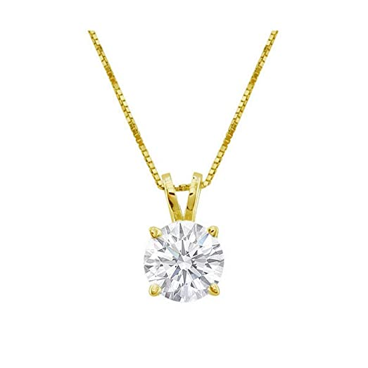 Amazon 12 carat 4 prong solitaire basket diamond pendant 12 carat 4 prong solitaire basket diamond pendant necklace 14k yellow gold k aloadofball Gallery