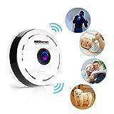 REDLEMON Camara De Seguridad Wifi IP 360 Panoramica Lente Fish Eye Para iPhone y Android, Monitor de bebe, Vision Nocturna, Deteccion de Movimiento