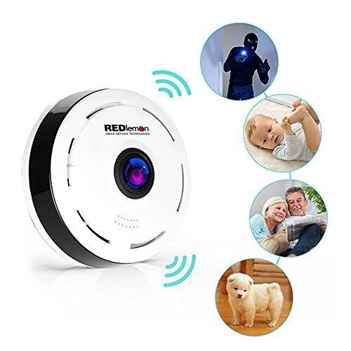 REDLEMON Cámara De Seguridad WiFi HD 360° Panorámica, Lente Fisheye para Visibilidad Total. Detección de Movimiento,...