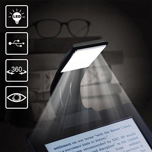 Book Light, WeGuard Ultrathin Flexible Reading Light for eBook Book Rechargeable Clip on LED Book Lamp for Reading in Bed Plane Train Dorm - 4 Brightness Mode (Black) ()