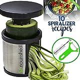 Hand Held Spiralizer Vegetable Slicer - Zoodle Maker - Veggie Spiral Cutter - FREE 10 Spiralizer Recipes PDF - Make Healthy Low Carb/Paleo/Gluten-free Noodles Quick and Easy with Our Spiral Slicer!