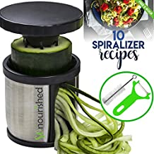 Hand Held Spiralizer Vegetable Slicer - Zoodle Maker - Veggie Spiral Cutter - FREE 10 Spiralizer Recipes PDF - Make Healthy Low Carb/Paleo/Gluten-free Noodles Quick and Easy with Our Spiral Slicer!