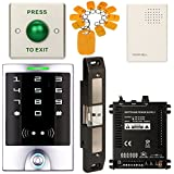 Access Control System, ZOTER Waterproof IP65 Keypad Reader RFID Card 125Khz Touch Panel Square + Electric Strike for Push Bar NO NC Mode