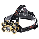 Rechargeable Headlight Assembly, T6 Head Light, with 5 Bright Bulbs, Zoom and Waterproof