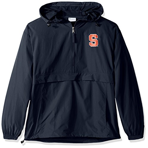 Champion NCAA Men's Half Zip Front Pocket Packable Jacket, Syracuse Orange, Large