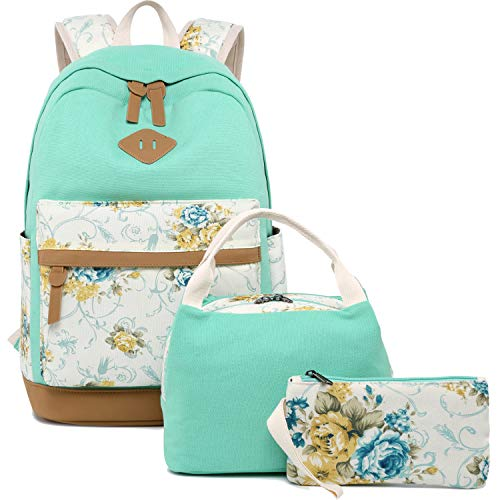 (BLUBOON Teens Backpack for School Girls Bookbags Set Canvas Laptop Backpack Lunch Bag Pencil Purse (Mint)
