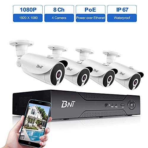 8 Channel 1080P PoE Security Camera System, BNT 8Ch NVR 4 Bullet Camera, IP67 Waterproof Indoor Outdoor, Free APP Remote View,Customizable Motion Detect Onvif?Power Over Ethernet, No Hard Drive
