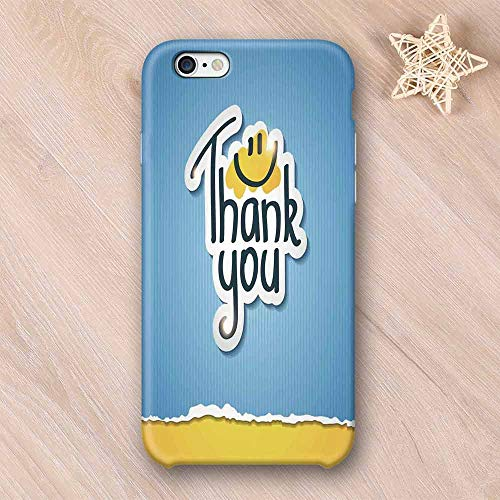 Smile Funny Doodle Wear Resisting Compatible with iPhone Case,Blue Striped Typographic Thanksgiving Torn Paper Look Compatible with iPhone 7/8,iPhone 6/6s