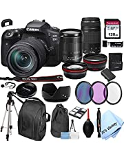 $1629 » Canon EOS 90D DSLR Camera + 18-135mm f/3.5-5.6 is USM Lens + 75-300mm F/4-5.6 III Lens + 128GB Card, Tripod,Back-Pack,Filters, 2X Telephoto Lens, HD Wide Angle Lens, Hood, Lens Pouch, More (28pcs)