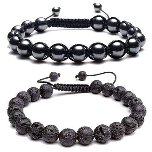 Top Plaza Natural Tiger Eye Stone Magnetic Hematite Healing Therapy Beads Lava Stone Aromatherapy Essential Oil Diffuser Macrame Adjustable Braided Link Bracelets - Bracelet 8' Long