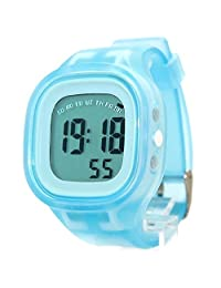 DW358B White Watchcase BackLight Silicone Light Blue Band Boy Girl Digital Watch