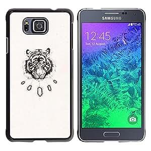 YOYOYO Smartphone Protección Defender Duro Negro Funda Imagen Diseño Carcasa Tapa Case Skin Cover Para Samsung GALAXY ALPHA G850 - tigre boceto viñeta arte dibujo negro