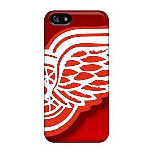 High Quality Cell-phone Hard Covers For Iphone 5/5s (wUM17287BWOL) Allow Personal Design Realistic Detroit Red Wings Pattern
