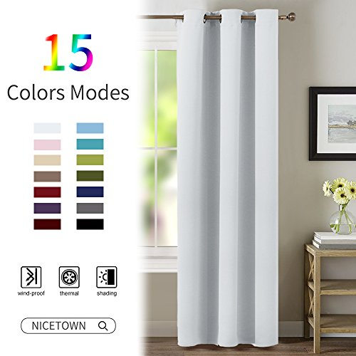 Room Darkening Window Treatment Curtain - NICETOWN Energy Smart Thermal Insulated Block Out Sunlight Shade & Blind for Bedroom with Grommet Ring Top (Single Panel, 42 by 63, - Shades Light Block