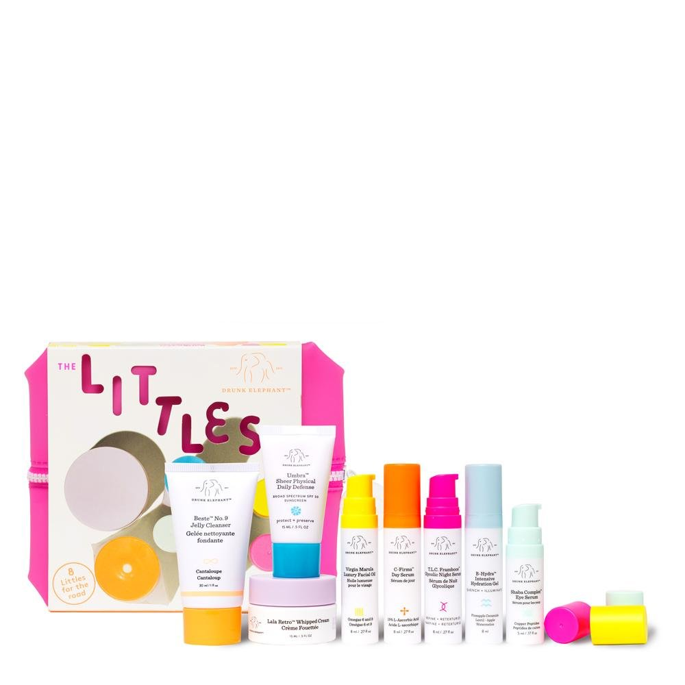 Drunk Elephant New Littles Kit. Travel Skin Care Bundle w/Bag (Facial Cleanser, SPF 30 Sunscreen, 3 Serums, Facial Oil, Hydration Gel, and Moisturizer).