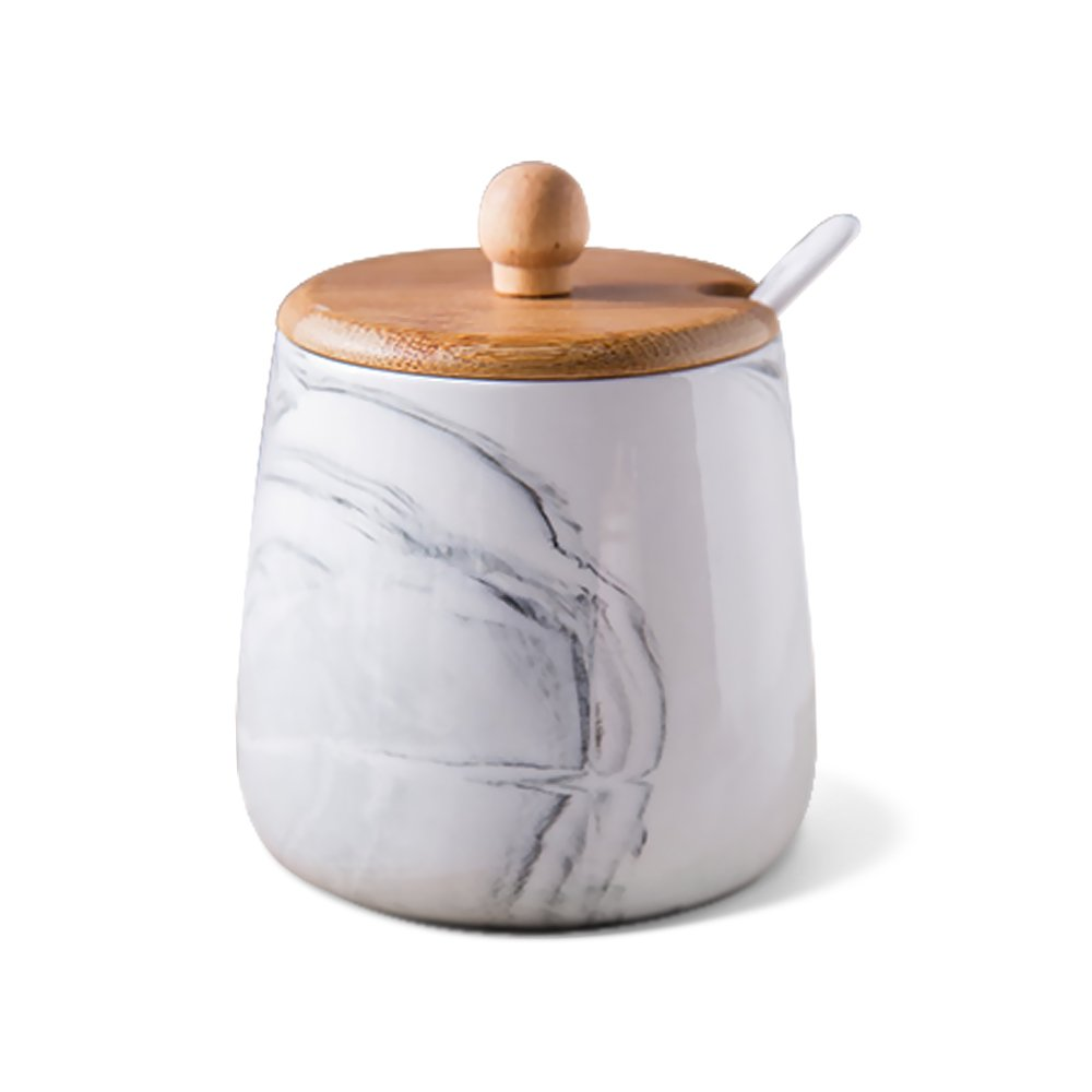 Ceramics Marble Pattern Sugar Bowl Spice Jar Seasoning Box with Lid and Spoon 13 Ounces Gray
