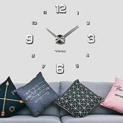 Vangold Modern Mute DIY Frameless Large Wall Clock 3d Mirror Sticker Metal Big Watches Home Office Decorations Vangold(2-Year Warranty)