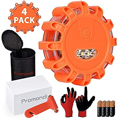 Roadside Safety Discs Set - LED Road Flares Emergency Disc - Rescue Beacon Road Safety Flare Light for Car Boat Marine Vehicles - Discs & Batteries & Gloves & Hammer & Bag by Promondi